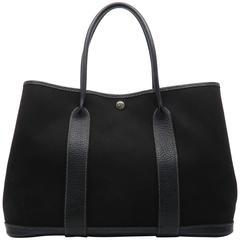 Hermes Garden Party PM Noir Black Canvas Tote Bag