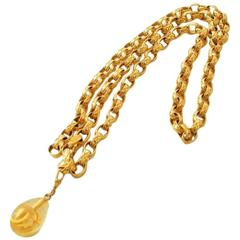 MINT.Vintage CHANEL double strand golden chain belt with CC teardrop charm.