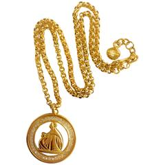 MINT. Vintage LANVIN golden chain necklace with large logo pendant top. Germany.