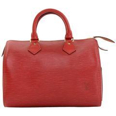 Vintage Louis Vuitton Speedy 25 Red Epi Leather City Hand Bag