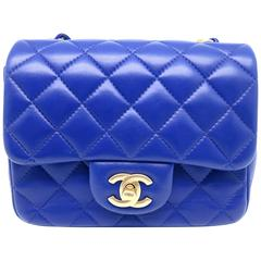 Chanel Mini Classic Flap Blue Quilted Lambskin Leather Chain Shoulder Bag