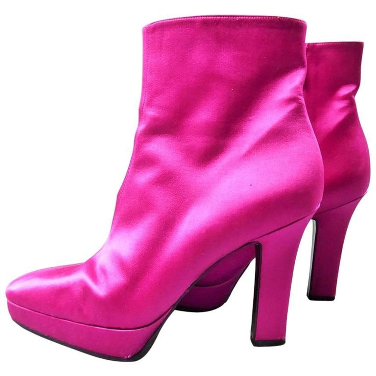 Yves Saint Laurent Shocking Pink Shoes For Sale