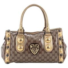 Gucci Babouska Heart Zip Satchel GG Coated Canvas Medium