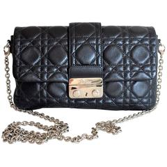 Miss Dior Lock Promenade Black Leather Pochette Wallet on Chain, small bag