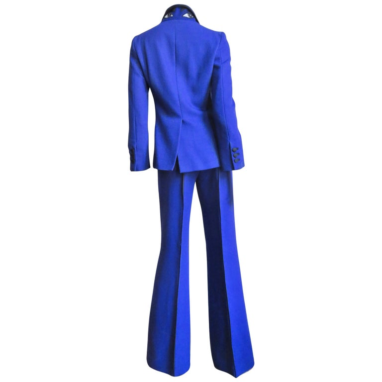 1990S Moschino Pantsuit With Embroidered Eyes In Back