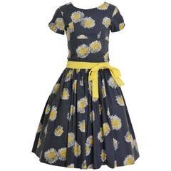 1950s Painted Flowers Cocktail Dress