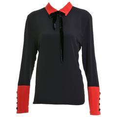 1980s VALENTINO Boutique Black and Red Silk Blouse Shirt