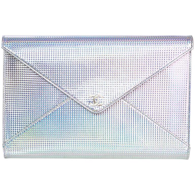Chanel Silver Holographic Envelope Clutch Bag with Box 1