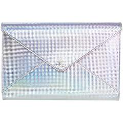 Chanel Silver Holographic Envelope Clutch Bag with Box