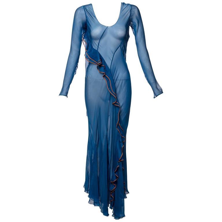 Alberta Ferretti Sheer Silk Lapis Blue Ruffle Draped Maxi Dress