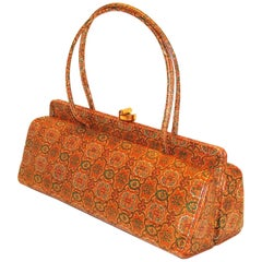 Rare Structured Printed Leather Bag by Holzman FALL