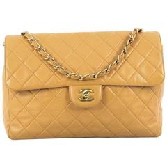 Chanel Vintage Square Single Flap Bag Quilted Lambskin Jumbo
