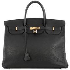 Hermes Birkin Handbag Black Togo with Gold Hardware 40