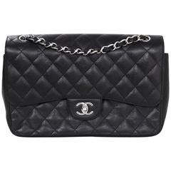 Chanel Black Caviar Leather Quilted Double Flap Jumbo Bag with SHW