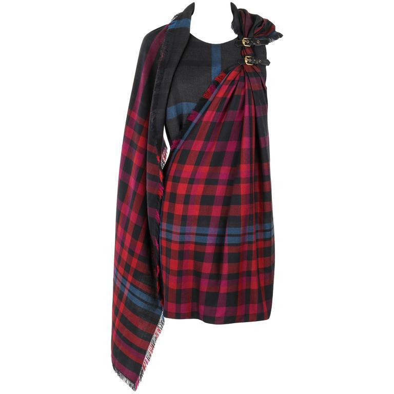 GUCCI A/W 2008 Red & Blue Tartan Plaid Wool Silk Kilt Shift Dress NWT