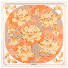 """HERMES c.1976 Christiane Vauzelles """"Fleurs De Lotus"""" Peach Floral Print Scarf"""