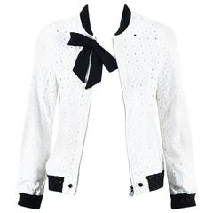 Chanel 08A White Cotton Eyelet Tweed Trim Bow Jacket