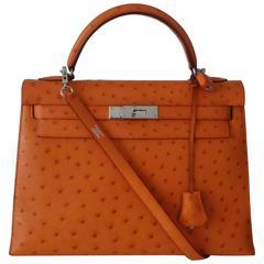 Rare Hermes Kelly Bag Orange Ostrich Palladium Hdw 32 cm