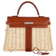 Hermes 35cm Picnic Kelly Wicker Rare * Limited!