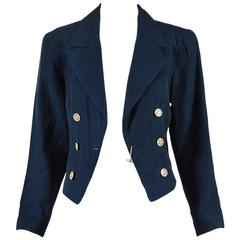 Chanel Navy Blue Linen Embellished Button Crop Military Jacket