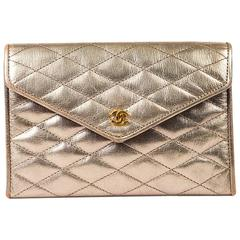 Chanel Vintage Metallic Gold Quilted Leather 'CC' Front Flap Clutch Bag