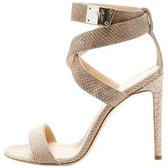 Giuseppe Zanotti New Nude Tan Snake Print Wrap Around Strap Heels Sandals in Box