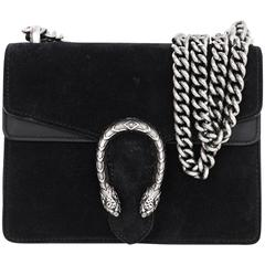 Gucci Black Suede Dionysus Mini Flap Crossbody Bag