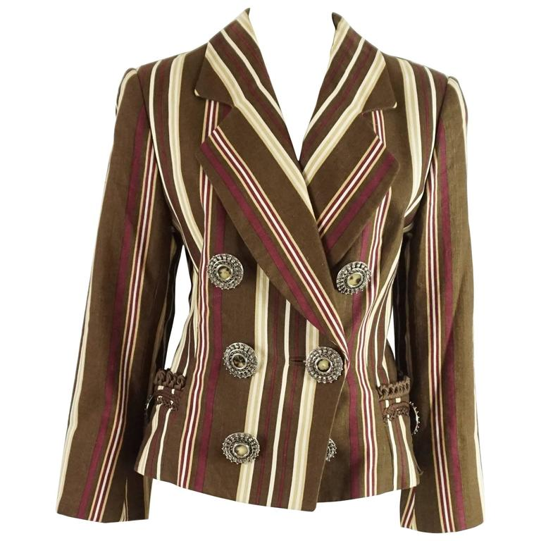 Christian Dior Brown Striped Linen Jacket - 38 - 1990's