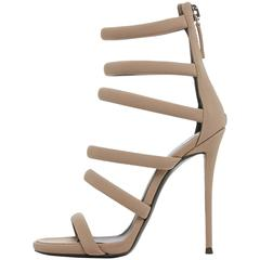 Giuseppe Zanotti New Taupe Cut Out Strappy Heels Sandals in Box