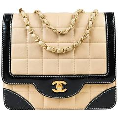 Chanel Beige Leather Black Patent Square Stitch Chain Link Bag