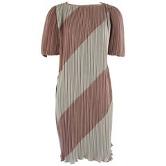 Vintage Pleated Striped Dress with Puffed Sleeves - 8 - 1980's