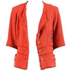 Chanel Red Tweed Frayed Trim Button Crop Sleeve Jacket