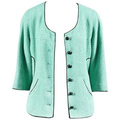Chanel 12P Mint Green Tweed Contrast Trim Jacket