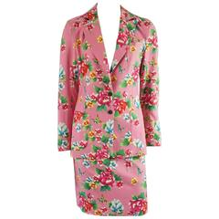 Todd Oldham Pink Floral Skirt Suit - 6 - 1990's