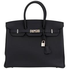 Hermes Limited Edition Birkin 35 Verso Black Blue Agate Bag