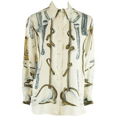 "Hermes Ivory Silk ""A Propos de Bottes"" Riding Boot Print Shirt - 40 - 1960s"