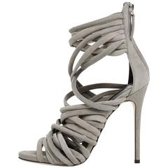 Giuseppe Zanotti New Gray Suede Leather Strappy Heels in Box