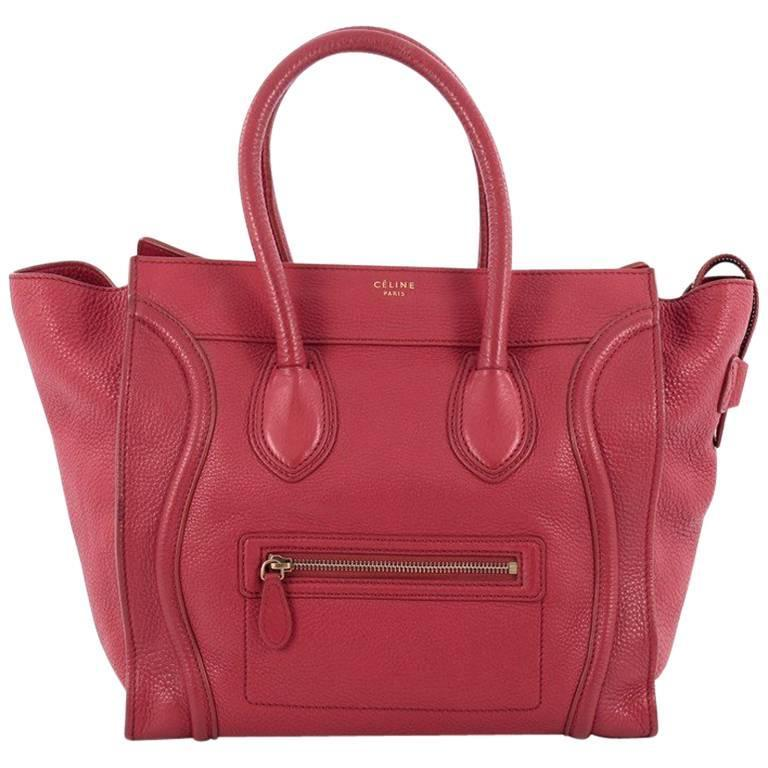 Celine Luggage Handbag Grainy Leather Mini 1