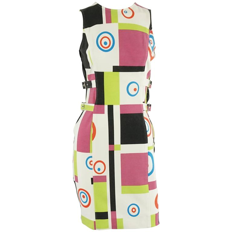 Charles Jourdan Multi Abstract Print and Mesh Dress - S For Sale