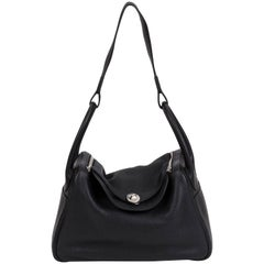 Hermes Black/Palladium Clemence Lindy Bag