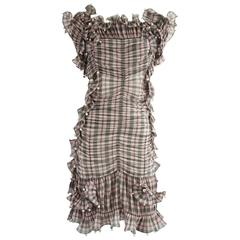 Marc Jacobs Pink Plaid Pleated Ruched Dress with Pearls - 4