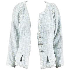 Chanel 09P Blue Tweed Plaid Fringe Trim Button Up Jacket