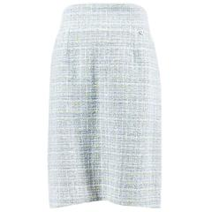 Chanel 09P Blue Grey Tweed Knit Plaid Pencil Skirt