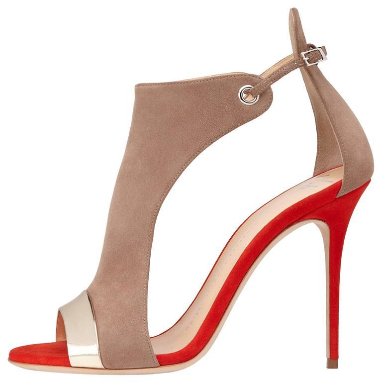 0e5bc2f6522 Giuseppe Zanotti New Orange Nude Suede Colorblock Gold Sandals Heels in Box