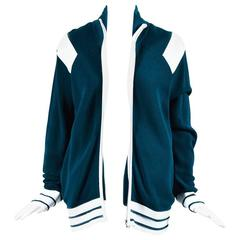 Chanel Teal Blue Pique Knit Striped Logo Sport Jacket