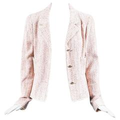 Chanel 05C Pink Tweed Silk Blend 'CC' Button Jacket