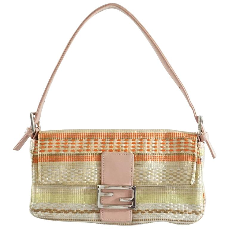 Fendi Cream Handbag With Pastel Stripes And Pink Handle - Shw HaxPYbfsEn