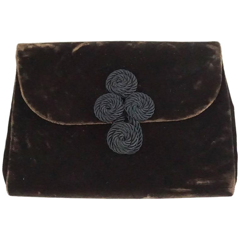 Christian Dior Chocolate Brown Velvet Clutch