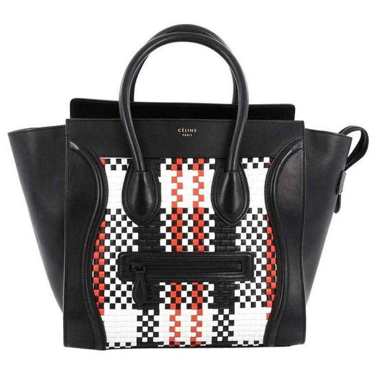 Celine Luggage Handbag Woven Leather Mini 1