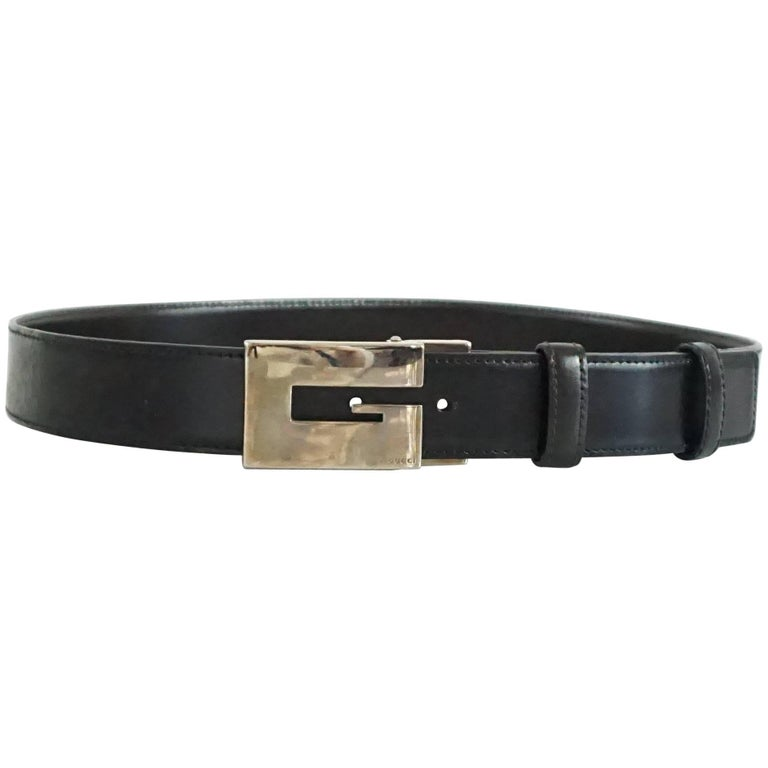 Gucci Black Leather Belt with a Silver Buckle